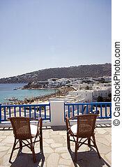 eiland, hotel, griekse , gevolg, strand, aanzicht