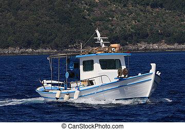 eiland, lefkas, visserij, griekenland, ionian, scheepje