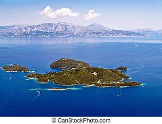 eiland, luchtopnames, skorpios, aanzicht