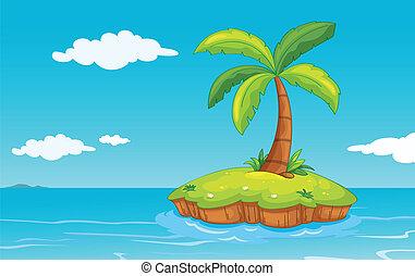 eiland, palmboom