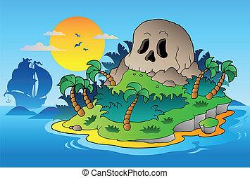 eiland, scheeps , zeerover, schedel