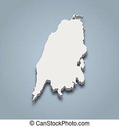 eilanden, eiland, ionian, isometric, kaart, 3d, lefkas
