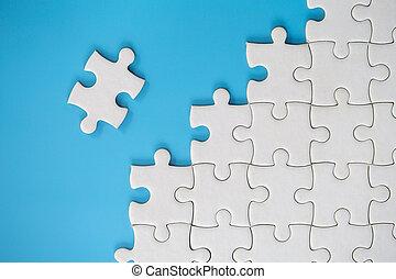 eind-, stukken, concept, raadsel, vervolledigen, piece., missing., vermiste fragment, jigsaw, klus, zakelijk