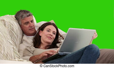 elderlry, werkende , paar, draagbare computer