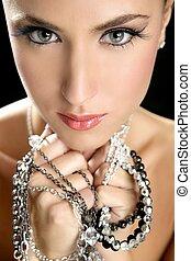 elegant, vrouw, mode, aantrekkelijk, juwelen