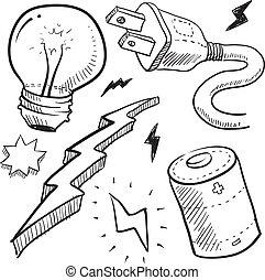 elektriciteit, schets, voorwerpen
