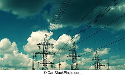 elektrisch, hemel, tegen, hoogspanning, hoogspanningsmast