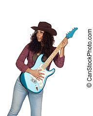 elektrisch, land, gitaar, muziek, aantrekkelijk, meisje, spelend