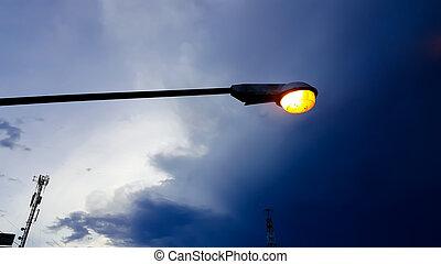 elektrisch licht, tegen, straat, achtergrond, schemering