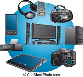 elektronica, toestellen, iconen