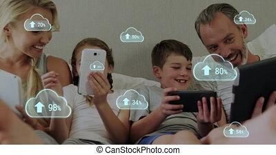 elektronisch, toenemend, gezin, wolk, percentage, gebruik, veelvoudig, bed, pictogram, tegen, artikelen & hulpmiddelen