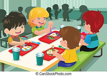 elementair, cafetaria, eten, scholieren, etentje