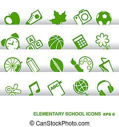 elementair, iconen, school, opleiding, grondbeginselen