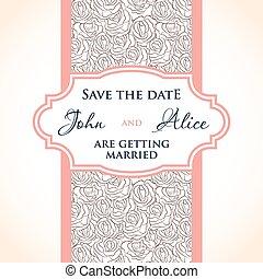 elements., trouwfeest, veelkleurig, ontwerp, uitnodiging, floral, druppels, kaart