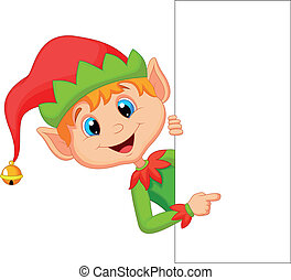 elf, schattig, wijzende, kerstmis, spotprent