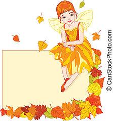 elfje, kaart, herfst, plek