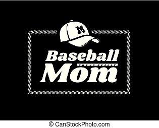 embleem, achtergrond., vector, honkbal, mamma, black , lacing, hoedje