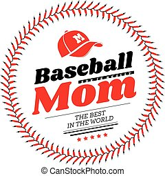 embleem, achtergrond., vector, honkbal, mamma, lacing, hoedje, witte