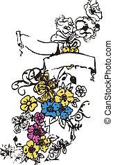 embleem, bloem, spandoek, lint