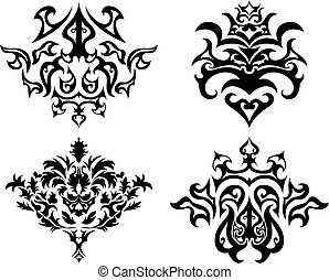 embleem, gotisch, set