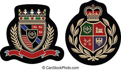 embleem, mode, badge