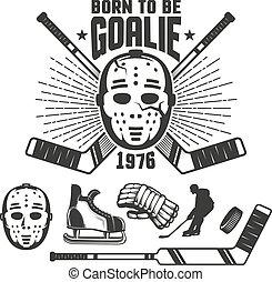 embleem, plakken, ouderwetse , masker, hockey, goalkeeper's, retro