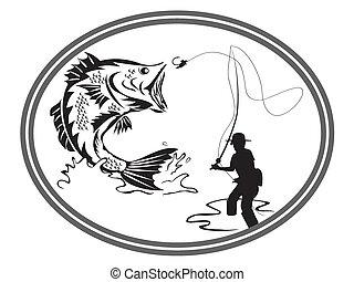 embleem, visserij, baars