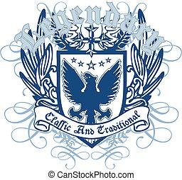 embleem, vogel, heraldisch, koninklijk