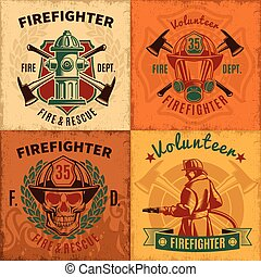 emblems, firefighting, set, ouderwetse