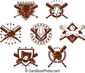 emblems, set, honkbal