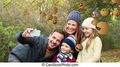 emoji, iconen, boeiend, selfie, achtergrond, gezin, 4k