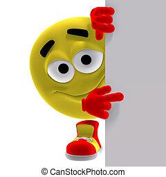 emoticon, gekke , zegt, blik, hier, gele, koel
