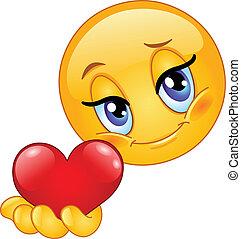 emoticon, geven, hart