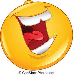 emoticon, luid, lachen, uit