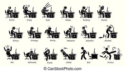 emoties, gevoel, pc, terwijl, gamer, games., spelend, reacties