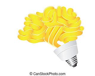 energie, besparing, hersenen, lightbulb