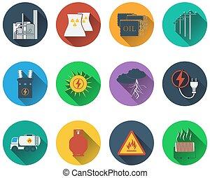 energie, set, iconen