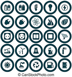 energie, set, macht, pictogram