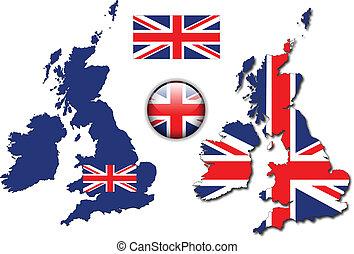 engeland, knoop, vlag, kaart, vector, uk
