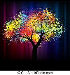 .eps, kleurrijke, ruimte, abstract, boom., 8, kopie