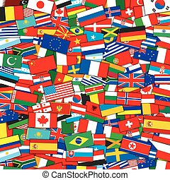 eps10, achtergrond., vector, vlaggen, mal, wereld
