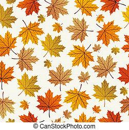 eps10, ouderwetse , bladeren, seamless, herfst, achtergrond., model, file.