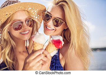eten, geluk, ijs