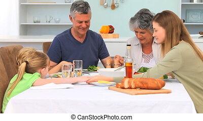 eten, gezin, biddend, voor