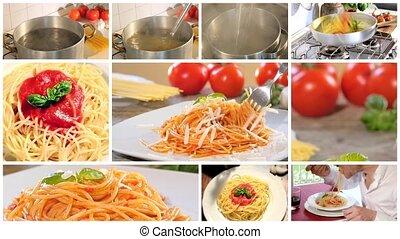 eten, het koken, spaghett, italiaanse