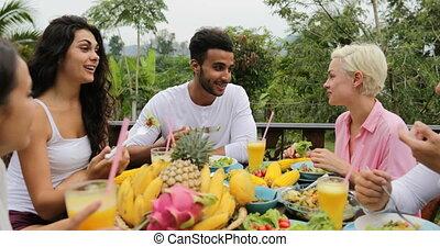 eten, klesten, mensen, gezonde , vegetariër, zittende , groep, tropische , sap, terras, voedingsmiddelen, tafel, clink, vrolijke , vrienden, bril