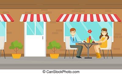 eten, man, tafel, zittende , vector, illustratie, tijd, vrouw, zomer, het glimlachen, datum, paar, terras, spotprent, romantische, jonge, toetjes
