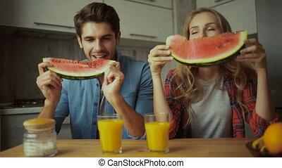 eten, paar, watermeloen, breakfast.