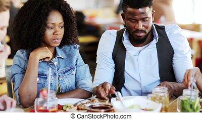eten, restaurant, voedingsmiddelen, paar, amerikaan, afrikaan