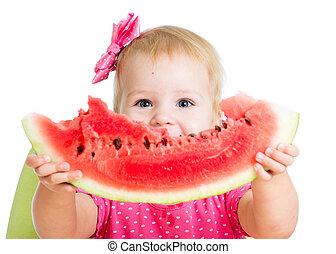 eten, vrijstaand, watermeloen, achtergrond, kind, meisje, witte